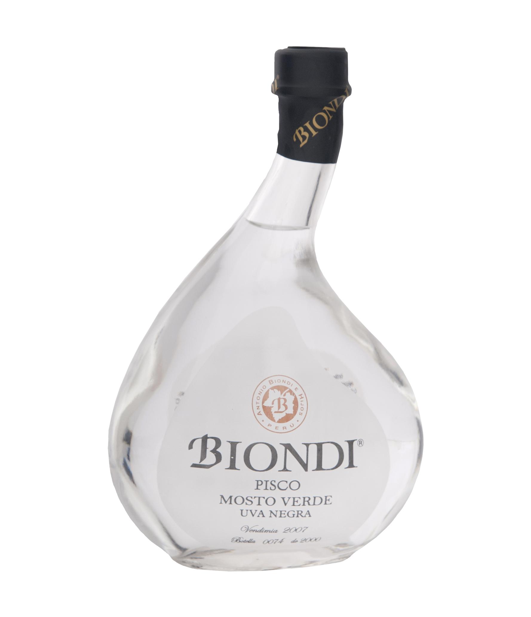 Pisco BIONDI Mosto Verde Uva Negra Criolla Botella 500ml