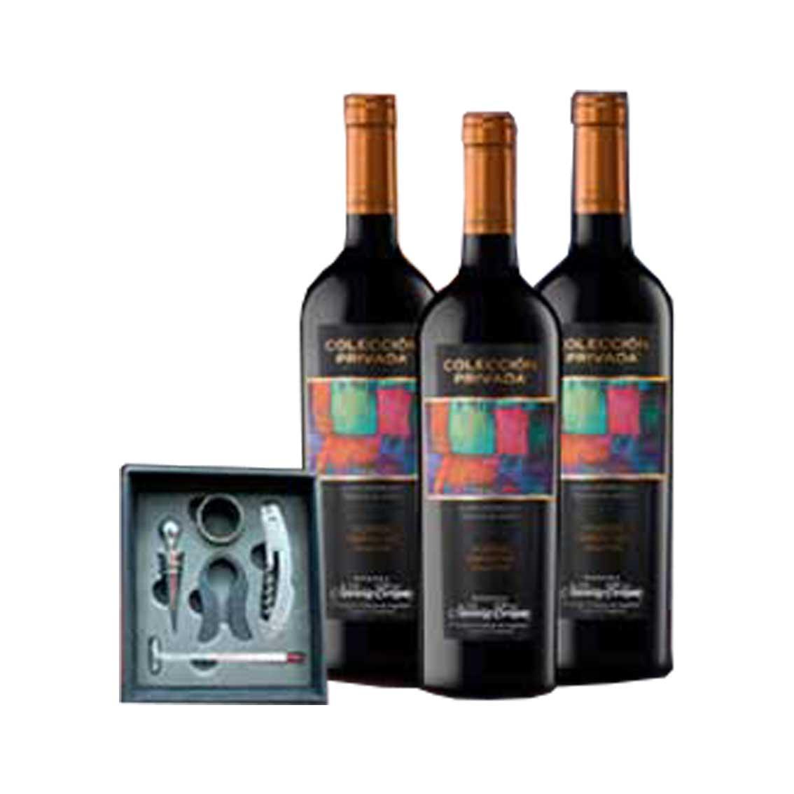 Pack de 3 Vinos NAVARRO CORREAS Colección Privada Blend Botella 750ml + Kit Vinero